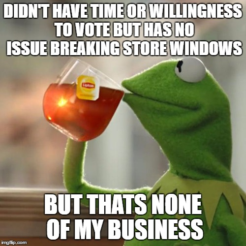 But Thats None Of My Business Meme | DIDN'T HAVE TIME OR WILLINGNESS TO VOTE BUT HAS NO ISSUE BREAKING STORE WINDOWS BUT THATS NONE OF MY BUSINESS | image tagged in memes,but thats none of my business,kermit the frog | made w/ Imgflip meme maker