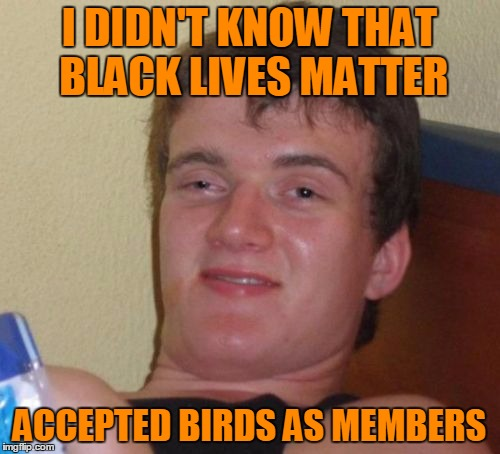 10 Guy Meme | I DIDN'T KNOW THAT BLACK LIVES MATTER ACCEPTED BIRDS AS MEMBERS | image tagged in memes,10 guy | made w/ Imgflip meme maker