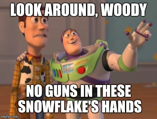 X, X Everywhere Meme | LOOK AROUND, WOODY NO GUNS IN THESE SNOWFLAKE'S HANDS | image tagged in memes,x,x everywhere,x x everywhere | made w/ Imgflip meme maker