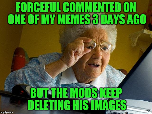 Grandma Finds The Internet Meme | FORCEFUL COMMENTED ON ONE OF MY MEMES 3 DAYS AGO BUT THE MODS KEEP DELETING HIS IMAGES | image tagged in memes,grandma finds the internet | made w/ Imgflip meme maker