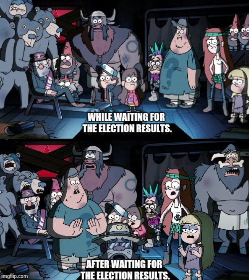 Weirdmaggedon: shocked  | AFTER WAITING FOR THE ELECTION RESULTS. WHILE WAITING FOR THE ELECTION RESULTS. | image tagged in election 2016,gravity falls,memes | made w/ Imgflip meme maker