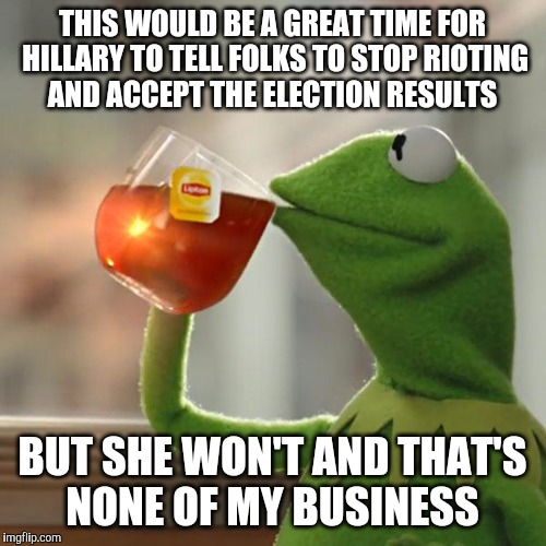 It's domestic terrorism  | THIS WOULD BE A GREAT TIME FOR HILLARY TO TELL FOLKS TO STOP RIOTING AND ACCEPT THE ELECTION RESULTS BUT SHE WON'T AND THAT'S NONE OF MY BUS | image tagged in memes,but thats none of my business,kermit the frog,riot,riots,hillary clinton | made w/ Imgflip meme maker