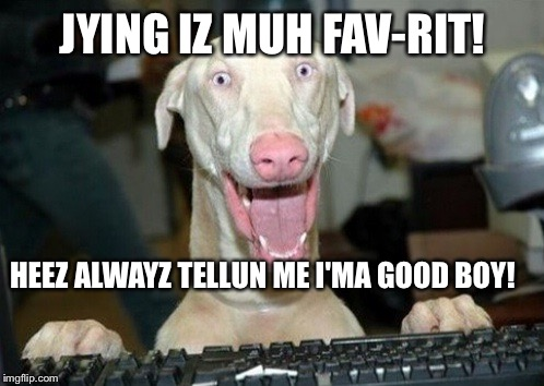 Computer Dog | JYING IZ MUH FAV-RIT! HEEZ ALWAYZ TELLUN ME I'MA GOOD BOY! | image tagged in computer dog | made w/ Imgflip meme maker