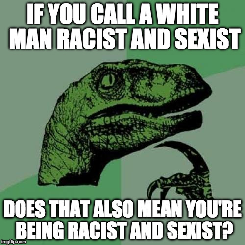 Philosoraptor Meme | IF YOU CALL A WHITE MAN RACIST AND SEXIST DOES THAT ALSO MEAN YOU'RE BEING RACIST AND SEXIST? | image tagged in memes,philosoraptor | made w/ Imgflip meme maker