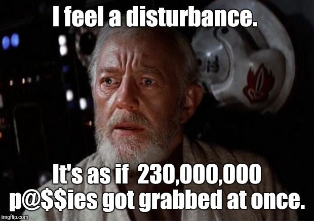 Surprise Obi Wan | I feel a disturbance. It's as if  230,000,000 p@$$ies got grabbed at once. | image tagged in surprise obi wan,the force awakens,funny meme | made w/ Imgflip meme maker