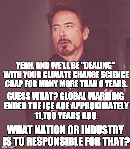 "Face You Make Robert Downey Jr Meme | YEAH, AND WE'LL BE ""DEALING"" WITH YOUR CLIMATE CHANGE SCIENCE CRAP FOR MANY MORE THAN 8 YEARS. GUESS WHAT? GLOBAL WARMING ENDED THE ICE AGE  