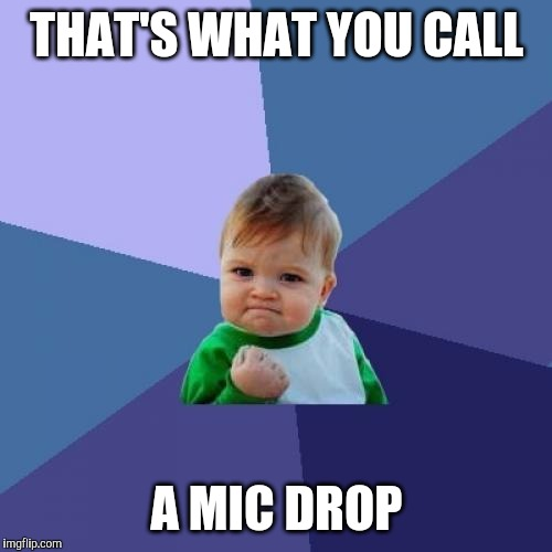 Success Kid Meme | THAT'S WHAT YOU CALL A MIC DROP | image tagged in memes,success kid | made w/ Imgflip meme maker