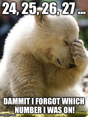 Forgetful Facepalm Bear |  24, 25, 26, 27 ... DAMMIT I FORGOT WHICH NUMBER I WAS ON! | image tagged in memes,facepalm bear | made w/ Imgflip meme maker