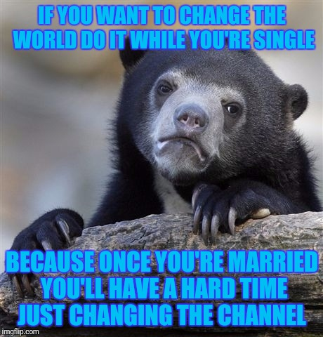 Confession Bear Meme | IF YOU WANT TO CHANGE THE WORLD DO IT WHILE YOU'RE SINGLE BECAUSE ONCE YOU'RE MARRIED YOU'LL HAVE A HARD TIME JUST CHANGING THE CHANNEL | image tagged in memes,confession bear | made w/ Imgflip meme maker