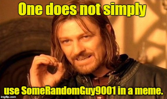 SomeRandomGuy9001 |  One does not simply; use SomeRandomGuy9001 in a meme. | image tagged in memes,one does not simply,somerandomguy9001,use the username weekend,use someones username in your meme,imgflip users | made w/ Imgflip meme maker
