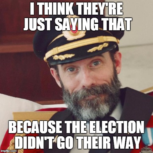 I THINK THEY'RE JUST SAYING THAT BECAUSE THE ELECTION DIDN'T GO THEIR WAY | made w/ Imgflip meme maker