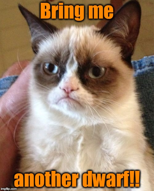Grumpy Cat Meme | Bring me another dwarf!! | image tagged in memes,grumpy cat | made w/ Imgflip meme maker