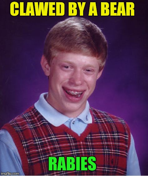 Bad Luck Brian Meme | CLAWED BY A BEAR RABIES | image tagged in memes,bad luck brian | made w/ Imgflip meme maker