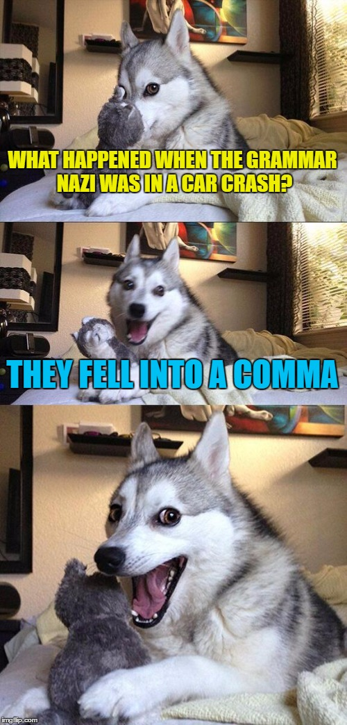 The car came to a quick stop. A full stop. | WHAT HAPPENED WHEN THE GRAMMAR NAZI WAS IN A CAR CRASH? THEY FELL INTO A COMMA | image tagged in memes,bad pun dog,grammar nazi | made w/ Imgflip meme maker
