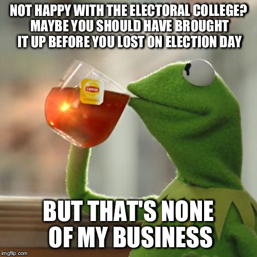 But Thats None Of My Business Meme | NOT HAPPY WITH THE ELECTORAL COLLEGE? MAYBE YOU SHOULD HAVE BROUGHT IT UP BEFORE YOU LOST ON ELECTION DAY BUT THAT'S NONE OF MY BUSINESS | image tagged in memes,but thats none of my business,kermit the frog | made w/ Imgflip meme maker
