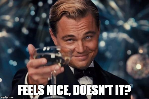 Leonardo Dicaprio Cheers Meme | FEELS NICE, DOESN'T IT? | image tagged in memes,leonardo dicaprio cheers | made w/ Imgflip meme maker
