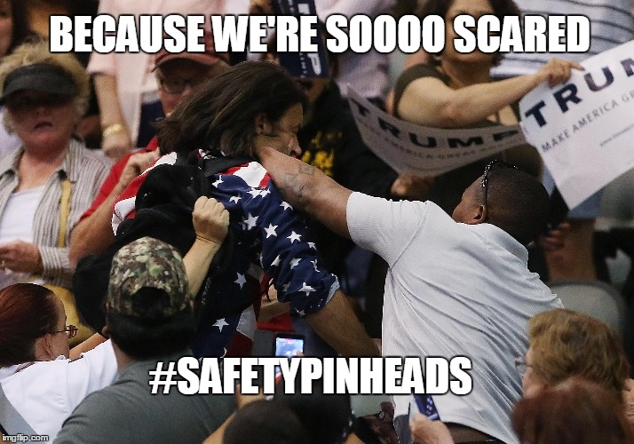 Safety Pin Heads | BECAUSE WE'RE SOOOO SCARED #SAFETYPINHEADS | image tagged in safeypins,election,liberals,riots,protesters,trump | made w/ Imgflip meme maker