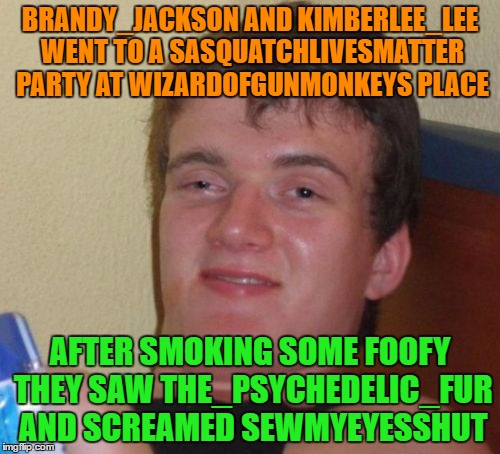 Username Meme Weekend Submission #5 ! I Hope You Enjoy It. |  BRANDY_JACKSON AND KIMBERLEE_LEE WENT TO A SASQUATCHLIVESMATTER PARTY AT WIZARDOFGUNMONKEYS PLACE; AFTER SMOKING SOME FOOFY THEY SAW THE_PSYCHEDELIC_FUR AND SCREAMED SEWMYEYESSHUT | image tagged in memes,10 guy,use the username weekend,use someones username in your meme,imgflip users | made w/ Imgflip meme maker