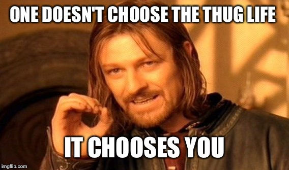 One Does Not Simply Meme | ONE DOESN'T CHOOSE THE THUG LIFE IT CHOOSES YOU | image tagged in memes,one does not simply | made w/ Imgflip meme maker