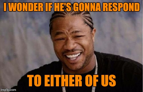 Yo Dawg Heard You Meme | I WONDER IF HE'S GONNA RESPOND TO EITHER OF US | image tagged in memes,yo dawg heard you | made w/ Imgflip meme maker