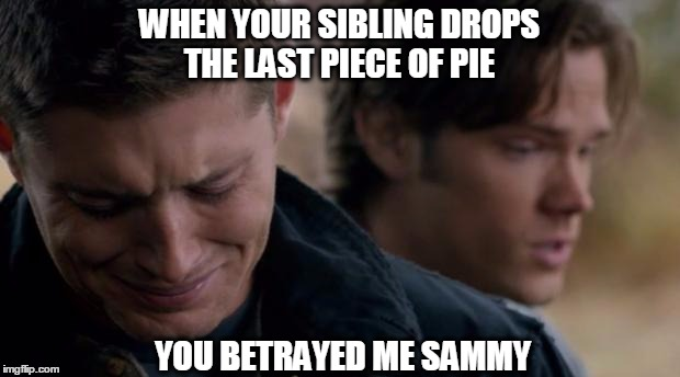 Supernatural: Dean Winchester |  WHEN YOUR SIBLING DROPS THE LAST PIECE OF PIE; YOU BETRAYED ME SAMMY | image tagged in supernatural dean winchester | made w/ Imgflip meme maker