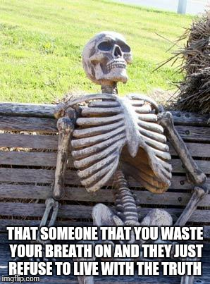 Waiting Skeleton Meme | THAT SOMEONE THAT YOU WASTE YOUR BREATH ON AND THEY JUST REFUSE TO LIVE WITH THE TRUTH | image tagged in memes,waiting skeleton | made w/ Imgflip meme maker