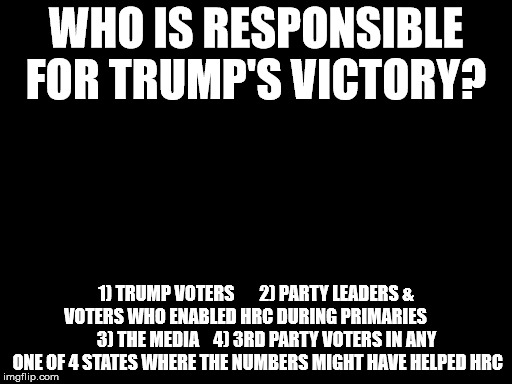 WHO IS RESPONSIBLE FOR TRUMP'S VICTORY? 1) TRUMP VOTERS      2) PARTY LEADERS & VOTERS WHO ENABLED HRC DURING PRIMARIES            3) THE  | image tagged in trump,hrc,demexit | made w/ Imgflip meme maker