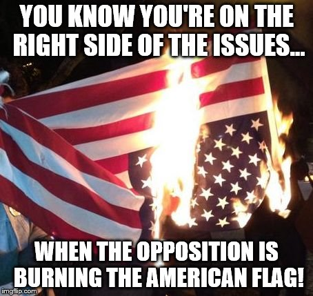 Disgraceful! | YOU KNOW YOU'RE ON THE RIGHT SIDE OF THE ISSUES... WHEN THE OPPOSITION IS BURNING THE AMERICAN FLAG! | image tagged in flag burning upside down,memes,trump 2016,liberal logic | made w/ Imgflip meme maker