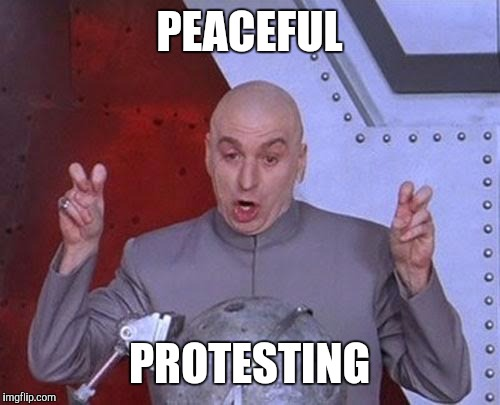 Dr Evil Laser Meme | PEACEFUL PROTESTING | image tagged in memes,dr evil laser | made w/ Imgflip meme maker