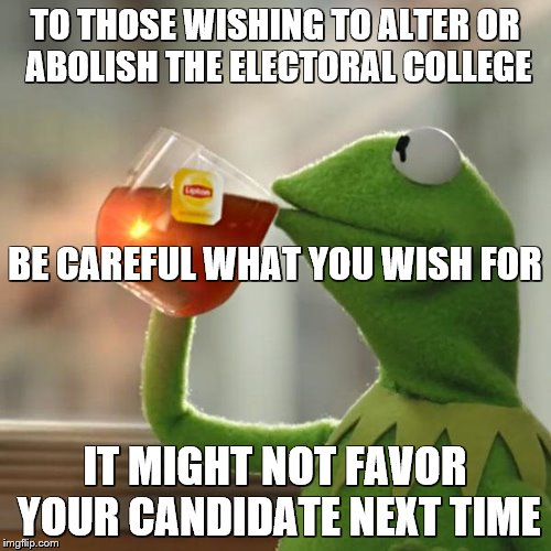 But Thats None Of My Business Meme | TO THOSE WISHING TO ALTER OR ABOLISH THE ELECTORAL COLLEGE IT MIGHT NOT FAVOR YOUR CANDIDATE NEXT TIME BE CAREFUL WHAT YOU WISH FOR | image tagged in memes,but thats none of my business,kermit the frog | made w/ Imgflip meme maker