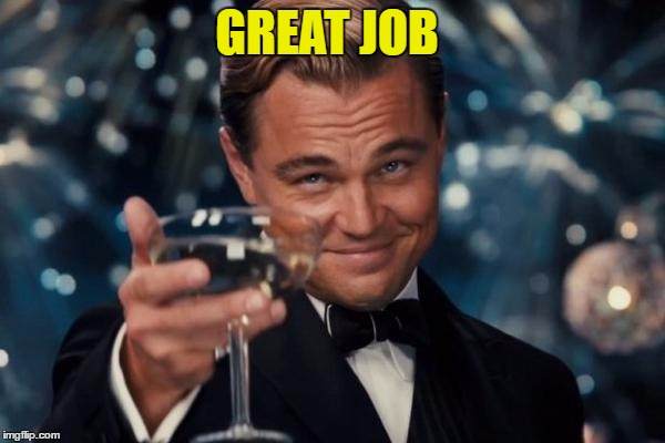 Leonardo Dicaprio Cheers Meme | GREAT JOB | image tagged in memes,leonardo dicaprio cheers | made w/ Imgflip meme maker