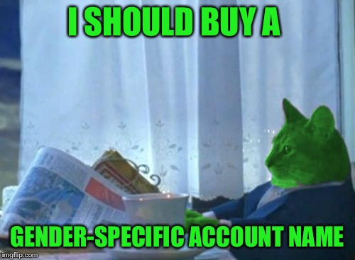 I Should Buy a Boat RayCat | I SHOULD BUY A GENDER-SPECIFIC ACCOUNT NAME | image tagged in i should buy a boat raycat | made w/ Imgflip meme maker