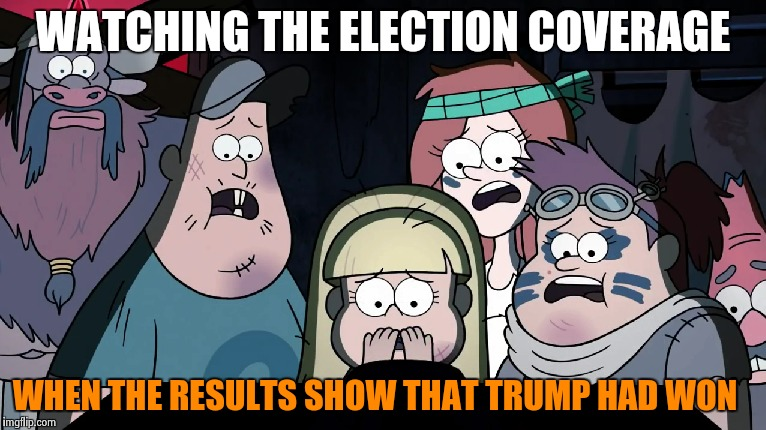 If Gravity Falls were watching the presidential election.... |  WATCHING THE ELECTION COVERAGE; WHEN THE RESULTS SHOW THAT TRUMP HAD WON | image tagged in memes,reactions,2016 us election,gravity falls,watching tv,donald trump 2016 | made w/ Imgflip meme maker