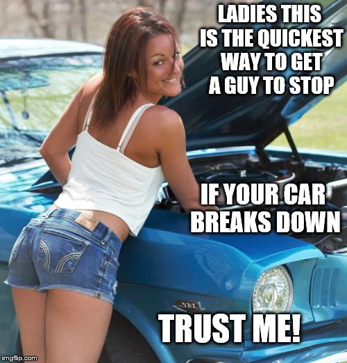 I'd stop | LADIES THIS IS THE QUICKEST WAY TO GET A GUY TO STOP IF YOUR CAR BREAKS DOWN TRUST ME! | image tagged in sweet | made w/ Imgflip meme maker