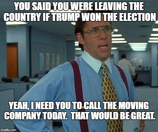That Would Be Great Meme | YOU SAID YOU WERE LEAVING THE COUNTRY IF TRUMP WON THE ELECTION YEAH, I NEED YOU TO CALL THE MOVING COMPANY TODAY.  THAT WOULD BE GREAT. | image tagged in memes,that would be great | made w/ Imgflip meme maker