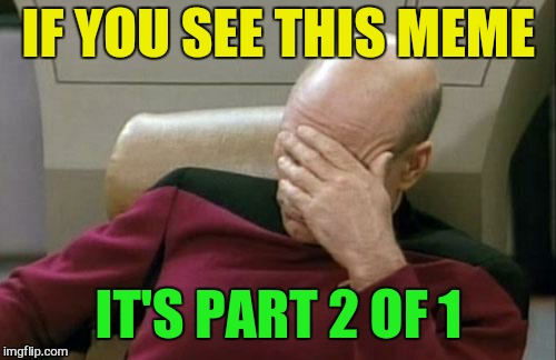 Captain Picard Facepalm Meme | IF YOU SEE THIS MEME IT'S PART 2 OF 1 | image tagged in memes,captain picard facepalm | made w/ Imgflip meme maker
