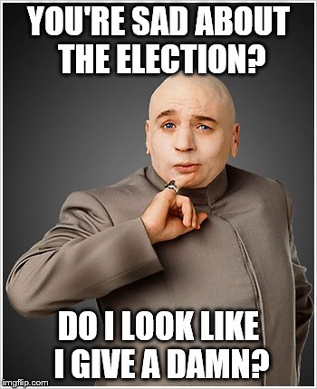 Dr Evil |  YOU'RE SAD ABOUT THE ELECTION? DO I LOOK LIKE I GIVE A DAMN? | image tagged in memes,dr evil | made w/ Imgflip meme maker