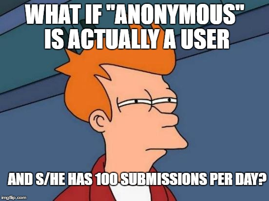 "Futurama Fry Meme | WHAT IF ""ANONYMOUS"" IS ACTUALLY A USER AND S/HE HAS 100 SUBMISSIONS PER DAY? 