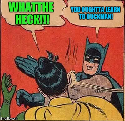 Username weekend... | WHATTHE HECK!!! YOU OUGHTTA LEARN TO DUCKMAN! | image tagged in memes,batman slapping robin,use the username weekend,sewmyeyesshut | made w/ Imgflip meme maker