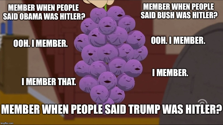 Member Berries Meme | MEMBER WHEN PEOPLE SAID BUSH WAS HITLER? I MEMBER. OOH. I MEMBER. MEMBER WHEN PEOPLE SAID OBAMA WAS HITLER? OOH. I MEMBER. I MEMBER THAT. ME | image tagged in memes,member berries | made w/ Imgflip meme maker