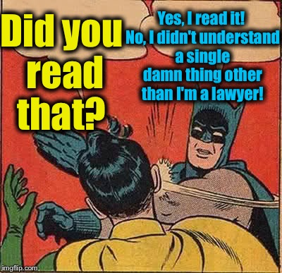 Batman Slapping Robin Meme | Did you read that? Yes, I read it! No, I didn't understand a single damn thing other than I'm a lawyer! | image tagged in memes,batman slapping robin | made w/ Imgflip meme maker