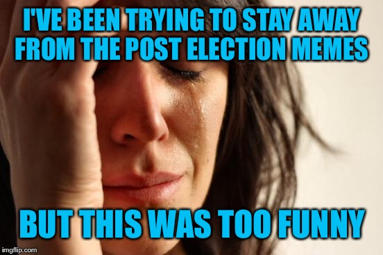 First World Problems Meme | I'VE BEEN TRYING TO STAY AWAY FROM THE POST ELECTION MEMES BUT THIS WAS TOO FUNNY | image tagged in memes,first world problems | made w/ Imgflip meme maker