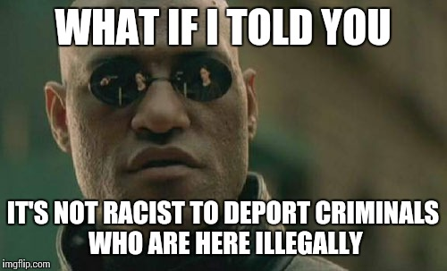 Matrix Morpheus | WHAT IF I TOLD YOU IT'S NOT RACIST TO DEPORT CRIMINALS WHO ARE HERE ILLEGALLY | image tagged in memes,matrix morpheus | made w/ Imgflip meme maker