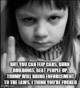 BUT YOU CAN FLIP CARS, BURN BUILDINGS, BEAT PEOPLE UP. TRUMP WILL BRING ENFORCEMENT TO THE LAWS. I THINK YOU'RE F**KED | made w/ Imgflip meme maker