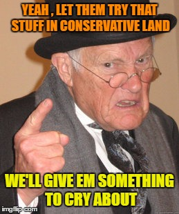 Back In My Day Meme | YEAH , LET THEM TRY THAT STUFF IN CONSERVATIVE LAND WE'LL GIVE EM SOMETHING TO CRY ABOUT | image tagged in memes,back in my day | made w/ Imgflip meme maker