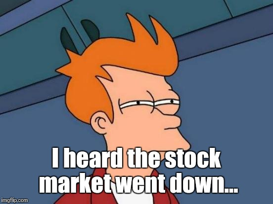 Futurama Fry Meme | I heard the stock market went down... | image tagged in memes,futurama fry | made w/ Imgflip meme maker