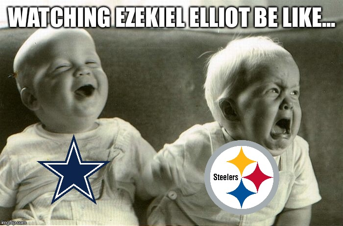 What a crazy finish! | WATCHING EZEKIEL ELLIOT BE LIKE... | image tagged in memes,dallas cowboys,pittsburgh steelers,nfl | made w/ Imgflip meme maker