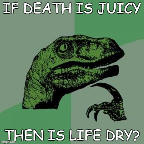 Philosoraptor Meme | IF DEATH IS JUICY THEN IS LIFE DRY? | image tagged in memes,philosoraptor | made w/ Imgflip meme maker