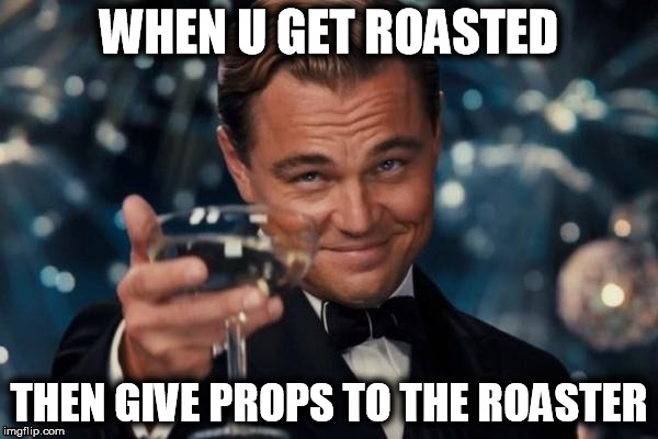 Leonardo Dicaprio Cheers Meme | WHEN U GET ROASTED THEN GIVE PROPS TO THE ROASTER | image tagged in memes,leonardo dicaprio cheers | made w/ Imgflip meme maker