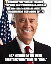 "Joe Biden | REMEMBER THAT TIME I CALLED OBAMA THE ""FIRST MAINSTREAM AFRICAN-AMERICAN WHO IS ARTICULATE AND BRIGHT AND CLEAN AND A NICE-LOOKING GUY"" ?! N 